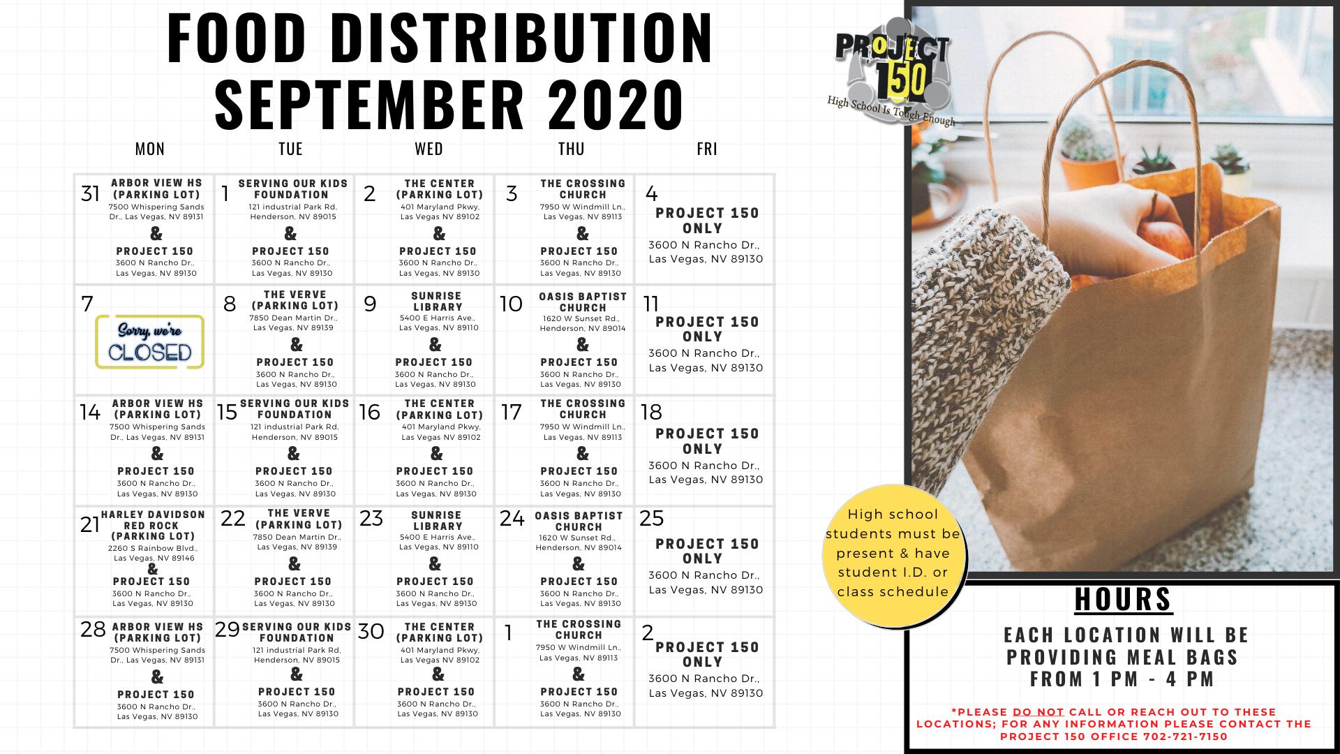 Project 150 Food Distribution Calendar